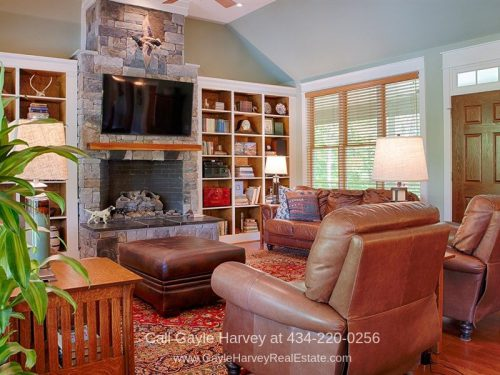 Waterfront Real Estate Properties for Sale in Louisa VA - Relax in the welcoming living room of this Louisa VA lakefront property for sale.